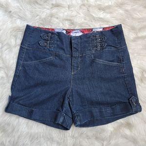 One 5 One Cuffed Denim Shorts Dark Wash